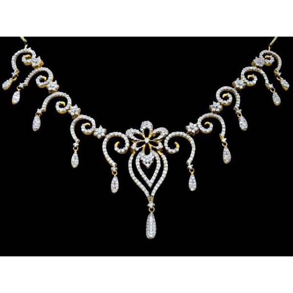 Sterling Silver  Necklace made with Swarovski Zirconia SNCAA042G