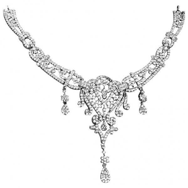 Sterling Silver  Necklace made with Swarovski Zirconia SNCAA044
