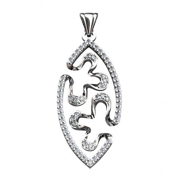 Sterling Silver  Pendant made with Swarovski Zirconia SPNAA034